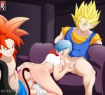 1girl 2boys anal animal_tail anus ass bulma bulma_brief bulma_briefs bwob dragon_ball_gt dragon_ball_super dragon_ball_z fellatio fusion gogeta monkey_tail pussy tail threesome vaginal vegito whentai