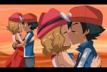 1boy 1girl arm art ash_ketchum bare_shoulders baseball_cap black_hair blue_eyes blue_shirt blush brown_eyes casual closed_eyes closed_mouth couple dress eye_contact friends hat hetero hikariangelove hikariangelove_(artist) hugging kissing light_brown_hair looking_at_another love multiple_views neck nintendo outside pokemon pokemon_(anime) pokemon_xy red_dress satoshi_(pokemon) serena serena_(pokemon) shirt short_hair short_sleeves sky sleeveless sleeveless_dress smile sunset twilight upper_body