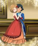 1boy 1girl alternate_costume arm art ash_ketchum bare_shoulders black_choker black_hair blue_suit blush brown_eyes choker closed_eyes closed_mouth couple dancing dress formal friends full_body hetero hikariangelove hikariangelove_(artist) hugging indoors light_brown_hair looking_at_another love nintendo pokemon pokemon_(anime) pokemon_xy red_dress satoshi_(pokemon) serena serena_(pokemon) short_hair smile sparkle strapless strapless_dress suit