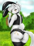1girl 1girl 2017 anonipony anthro ass basket blush bunny_costume clothing cosplay cutie_mark easter easter_egg edit equine fake_ears fake_rabbit_ears furry hippik holidays horse invalid_color legwear looking_at_viewer looking_back mammal monochrome my_little_pony noni_(oc) panties pony socks underwear