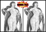 1girl actress android armando_huerta artist_name bare_shoulders belly big_breasts bodysuit breasts celeb celebrity coat covered_breasts covered_nipples cyberpunk cyborg english english_text erect_nipples eyelashes female female_only ghost_in_the_shell ghost_in_the_shell:_stand_alone_complex gun hips kusanagi_motoko large_breasts legs monochrome navel nipples pussy scarlett_johansson short_hair signature simple_background solo speech_bubble standing text thighs topless vagina weapon white_background