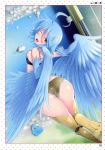 1girl ass blue_hair blush cute hot looking_at_viewer monster_musume nipples papi_(monster_musume) sexy short_hair shorts small_breasts smile wings yellow_eyes
