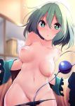 /\/\/\ 1girl areolae blurry blush breasts chestnut_mouth chipa_(arutana) depth_of_field eyebrows_visible_through_hair green_eyes green_hair highres komeiji_koishi looking_at_viewer medium_breasts navel nipples no_hat no_headwear open_clothes open_mouth panties panty_pull short_hair solo third_eye topless touhou unaligned_breasts underwear undressing wide_sleeves