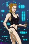 big_breasts breasts cleavage female izzykargeau kingdom_hearts knives larxene solo weapon