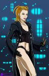big_breasts breasts cleavage coat female izzykargeau kingdom_hearts knives larxene solo weapon