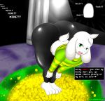1girl anthro asriel_dreemurr ass big_ass clothed clothing digital_media_(artwork) furry girly high_res looking_at_viewer male nobody147 text tight_clothing tight_pants undertale video_games