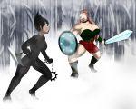 ashi_(samurai_jack) big_breasts bodysuit breasts daughters_of_aku flora_(samurai_jack) kusarigama samurai_jack sword tomkat96 tomkat96_(artist) weapon