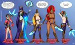 armor arrow big_breasts bow bow_and_arrow breasts breath_of_the_wild comic crossover disc female gerudo hyrule_warriors knife lana midna mind_control mipha nintendo nipples oo_sebastian_oo_(artist) princess_zelda speech_bubble text the_guardian_girls_of_ganon_(comic) the_legend_of_zelda topless trident twili twilight_princess urbosa zora
