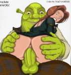 1boy 1girl anal ass ass_grab big_ass booty clothed looking_back penis princess_fiona raylude sex shrek