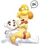 1girl animal_crossing anthro ass big_ass butt_job canine collar digital_media_(artwork) duo fur furry hot_dogging hotdogging isabelle_(animal_crossing) k.k._slider latenightsexycomics leash looking_at_viewer male male/female mammal nintendo penis sex signature surprise text video_games