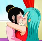 big_breasts breasts bulma bulma_brief bulma_briefs chichi dicasty1 dicasty1_(artist) dragon_ball dragon_ball_super dragon_ball_z female kissing yuri