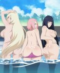 3girls ass back bare_back bikini black_hair blonde_hair blue_eyes breasts butt_crack covering_nipples from_behind green_eyes hinata_hyuuga ino_yamanaka large_breasts lavender_eyes lexus_(artist) long_hair looking_at_viewer looking_back multiple_girls naruto nude panty_pull parted_lips partially_submerged pink_hair pool pussy sakura_haruno short_hair sideboob smile tanline topless uncensored undressing very_long_hair water