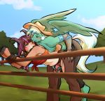 abdominal_bulge anal anal_penetration antelope anthro antlers blush breasts brown_fur brown_hair chaps clothed clothing cowboy_hat equine fan_character fence from_behind_(disambiguation) fur furry gazelle geo girly glacierclear hair hat highlights hooves horn horse intersex intersex/male intersex_penetrating invalid_tag long_hair male mammal multicolored_fur my_little_pony panties panties_aside partially_clothed pegasus penetration pony reach_around rope side_view small_breasts sweat two_tone_fur underwear wings