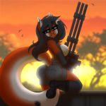 1girl 1girl anthro areola ass big_ass black_hair boots breasts canine chococosalo clothed clothing footwear fur furry gatling_gun gun hair high_res looking_at_viewer machine_gun mammal nipples outside ranged_weapon smile weapon