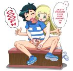 <3 1_boy 1_female 1_girl 1_male 2_humans alternate_hair_style alternate_hairstyle ash_ketchum bar_censor black_hair blonde_hair bottomless censored closed_eyes clothed duo english english_text erection female female_human female_teen from_behind green_eyes hair handjob heart human human/human human_only kousaka_jun lillie lillie_(pokemon) long_hair male male/female male_human male_teen penis penis_grab pokemon pokemon_(anime) pokemon_sm satoshi_(pokemon) sex shirt sitting speech_bubble spread_legs striped striped_shirt teen testicles text translated