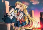2girls art bare_legs bishoujo_senshi_sailor_moon black_skirt blonde blonde_hair blue_eyes blush building choker closed_eyes double_bun dress hand_holding haruka_ten'ou haruka_tenoh kissing legs looking_at_another love magical_girl multiple_girls neck necklace outside sailor_moon sailor_uranus short_hair skirt sleeveless standing surprised twin_tails usagi_tsukino very_long_hair yuri