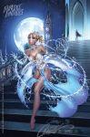 blonde_hair bra breasts cinderella disney dress glass_slipper gloves high_heels j_scott_campbell j_scott_campbell_(artist) partially_clothed princess_cinderella wardrobe_malfunction