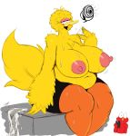 1girl 2017 anthro areola avian belly big_belly big_bird big_breasts bird breasts clothed clothing duo elmo erect_nipples furry high_res huge_breasts male mostly_nude muppet muppets navel nipples overweight overweight_female shorts sitting slightly_chubby sssonic2 sweat tagme thick_thighs topless