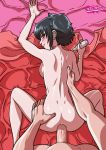 anal anal_penetration ass back black_hair black_lagoon blue_eyes blush bottomless ear_piercing eyeshadow frederica_sawyer from_behind hand_on_ass looking_back no_bra no_panties nude piercing sawyer_the_cleaner scar sex short_hair sideboob smile spread_legs tekuho_(artist) topless