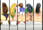 5girls anus artist_request ass black_hair black_panties blonde_hair blue_panties bottomless brown_hair cammy_white chun-li from_behind juri_han kasugano_sakura laura_matsuda looking_back multiple_girls panties panties_aside sailor_uniform sakura_kasugano serafuku squatting street_fighter uncensored
