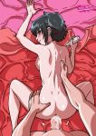 anus ass back black_hair black_lagoon blue_eyes blush bottomless cum cum_in_pussy cum_inside ear_piercing eyeshadow frederica_sawyer from_behind hand_on_ass looking_back no_bra no_panties nude piercing sawyer_the_cleaner scar sex short_hair sideboob smile spread_legs tekuho_(artist) topless vaginal vaginal_penetration