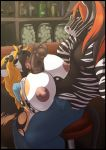 animal_genitalia animal_penis anthro bar big_breasts big_penis breasts equine equine_penis erection furry hyena licking mammal oral paizuri penis purplepardus sex tongue tongue_out zebra