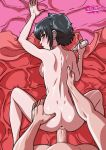 anus ass back black_hair black_lagoon blue_eyes blush bottomless ear_piercing eyeshadow frederica_sawyer from_behind hand_on_ass looking_back no_bra no_panties nude piercing sawyer_the_cleaner scar sex short_hair sideboob spread_legs tekuho_(artist) topless vaginal vaginal_penetration