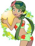 1girl :d ass ball beach_ball bikini churumi_(grie) cute dark-skinned_female dark-skinned_female dark_skin floral_print flower green_bikini green_eyes green_hair hair_flower hair_ornament happy looking_at_viewer mallow mallow_(pokemon) mao_(pokemon) pokemon pokemon_(anime) pokemon_sm simple_background smile strapless white_background