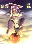 1girl angel_(mlp) anthro bat_pony big_breasts breasts cameltoe clothing da3rd duo feral fluttershy_(mlp) friendship_is_magic furry hat high_res lagomorph legwear looking_at_viewer mammal my_little_pony nipples panties pussy rabbit slightly_chubby smile stockings thick_thighs tongue tongue_out underwear wide_hips wings witch_hat