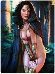 art black_hair brown_eyes cloak dc diana_prince gal_gadot heartbreakeh_(artist) kes_(artist) looking_at_viewer nude wonder_woman wonder_woman_(series) woods