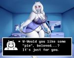 1girl 1girl 2017 anthro bed blush boss_monster caprine clothed clothing cyrus_physhor english_text furry goat horn inside long_ears mammal navel nightgown photo text toriel undertale underwear video_games