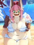 1girl 2017 5_fingers anthro beach bikini black_nose blue_sky breasts brown_fur canine cleavage clothed clothing cloud dessert food fox front_view fur furry gloves_(marking) green_eyes hair hair_ribbon happy high_res holding_object ice_cream kame_3 kemono long_hair looking_at_viewer mammal markings navel open_mouth outside pink_hair ponytail ribbons sea seaside signature sky slightly_chubby swimsuit tan_fur thick_thighs water