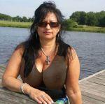 aunt black_hair huge_breast lake milf necklace see_through