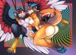 016 2females 4_toes anthro ass avian bdsm beak big_breasts bird blue_eyes blue_tongue bondage bound breasts claws dart_(nuttynut93) digital_media_(artwork) duo falcon feathers feet female/female fsmaverick furry hair hypnosis lizard mind_control nipples non-mammal_breasts nude open_mouth orange_body paws pussy pussy_juice reptile rope scalie sex simple_background tail_sex thick_tail toes tongue vivian_(nuttynut93) voluptuous wings
