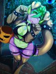 1girl 1girl 2015 absurd_res anthro anthrofied avante92 breasts clothed clothing collar cosplay crossgender dragon fangs friendship_is_magic furry green_hair hair halloween high_res holidays legwear my_little_pony scalie spike_(mlp) tongue tongue_out underwear