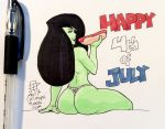 1girl 2017 4th_of_july american_flag_bikini ass black_hair bubble_butt callmepo callmepo_(artist) eating food green_skin hot_dog kim_possible long_hair looking_back pinupsushi pinupsushi_(artist) shego shiny shiny_skin sitting thong topless white_background