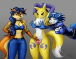 1girl 5_fingers anthro areola badge beauty_mark belt black_nose black_sclera blue_eyes blue_fur blue_hair blush breasts brown_eyes canine carmelita_fox clothed clothing convenient_censorship covering crossover digimon dipstick_ears dipstick_tail ear_piercing eyebrows eyelashes fingerless_gloves fox fur furry gloves group hair hand_on_hip heresy_(artist) krystal long_hair mammal midriff multicolored_tail navel nintendo nude piercing raised_arm renamon short_hair sly_cooper_(series) star_fox teeth video_games white_fur wide_hips yellow_fur