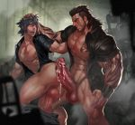 2boys abs bara blush bottomless cum erection final_fantasy final_fantasy_xv gladiolus_amicitia hand_on_head large_penis male_focus multiple_boys naughty_face noctis_lucis_caelum penis scar steam tagme tattoo testicle uncensored yaoi