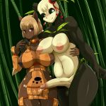 1girl absurd_res anthro areola balls big_breasts blonde_hair blush breasts brown_eyes clothed clothing dickgirl dofus duo ecaflip erect_nipples erection fully_clothed furry hair high_res humanoid_penis intersex kemono nipple_bulge nipples nude pandawa penis precum retracted_foreskin safurantora uncut wakfu