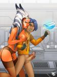 ahsoka_tano breasts erection ezra_bridger garter_belt handjob human interspecies male_human mostly_nude no_bra no_panties offworldtrooper star_wars star_wars_rebels stockings togruta