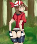 ass big_breasts black_panties clothed_female edit forest hands_on_ass haruka_(pokemon) hentai-foundry looking_back may medium_breasts non-nude outdoor outdoors outside panties pokemon pokemon_(anime) reach025 sideboob smile thong underwear