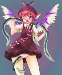 animal_ears bestiality blush eel eels fang flat_chest hat michii_yuuki mystia_lorelei panties pink_hair purple_eyes pussy_juice short_hair solo touhou underwear white_panties wings wink
