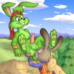 1girl analingus anilingus anthro anus balls clothing crossover detailed disney erection feet flat_chested forest grin jazz_jackrabbit judy_hopps ladysomnambule lagomorph male mammal oral outside paws penis police rabbit rimming tree uniform wilderness zootopia