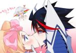 3_girls blush character_request harime_nui junketsu kill_la_kill kissing love matoi_ryuuko multiple_girls ryuuko_matoi tagme yuri