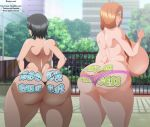 ass big_ass big_breasts bleach body_writing breasts dat_ass ecchi-enzo_(artist) female inoue_orihime kuchiki_rukia rtenzo_(artist) rukia_kuchiki swimsuit text thong topless