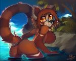 1girl 1girl anthro big_breasts breasts eyewear featureless_breasts featureless_crotch furry glasses looking_at_viewer looking_back macmegagerc mammal nude partially_submerged red_panda smile standing
