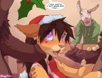 animal_ears anthro ass blush bottomless brown_hair christmas christmas_outfit feline fellatio fur furry group group_sex hand_on_head hat interspecies looking_up oral penis purple_eyes red_legwear saliva santa_hat sex shirt sleeveless sleeveless_shirt stockings tail threesome uncensored vaginal wolfy-nail_(artist)