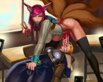 2_girls ahri aka6 alternate_costume animal_ears animal_tail arms_behind_back ass black_legwear black_thighhighs blonde_hair bodysuit bound_arms cameltoe closed_eyes clothed cum cum_drip cum_in_mouth fellatio fox_ears fox_tail futanari futanari_with_female g-string irrumatio league_of_legends legwear lipstick long_hair looking_at_viewer lux lying on_back one_eye_closed oral panties panties_in_mouth penis phone pink_hair pink_lipstick shiny shiny_skin skin_tight spread_legs standing stockings thighs v
