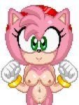 1girl amy_rose animal_ears bouncing_breasts breasts cute furry gif gloves green_eyes looking_at_viewer nipples nude pink_hair pixel_art pussy short_hair smile sonic_(series)