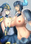 ashe breast breast_grab league_of_legends sejuani snow snow_background